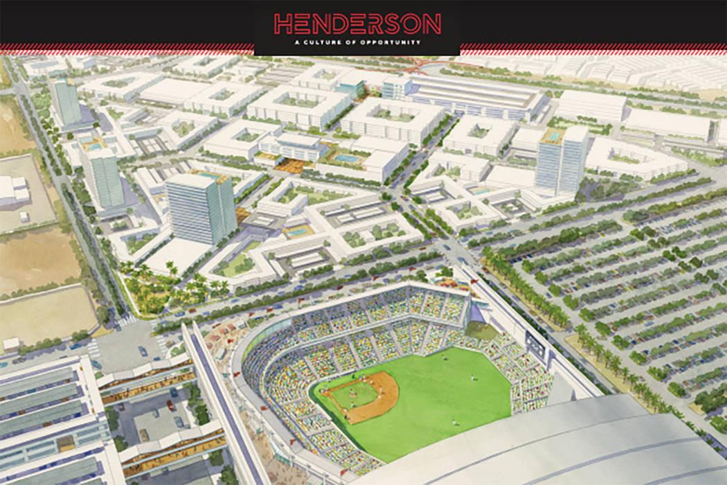 Una representación muestra la ubicación propuesta para un estadio de béisbol en Henderson. ( ...