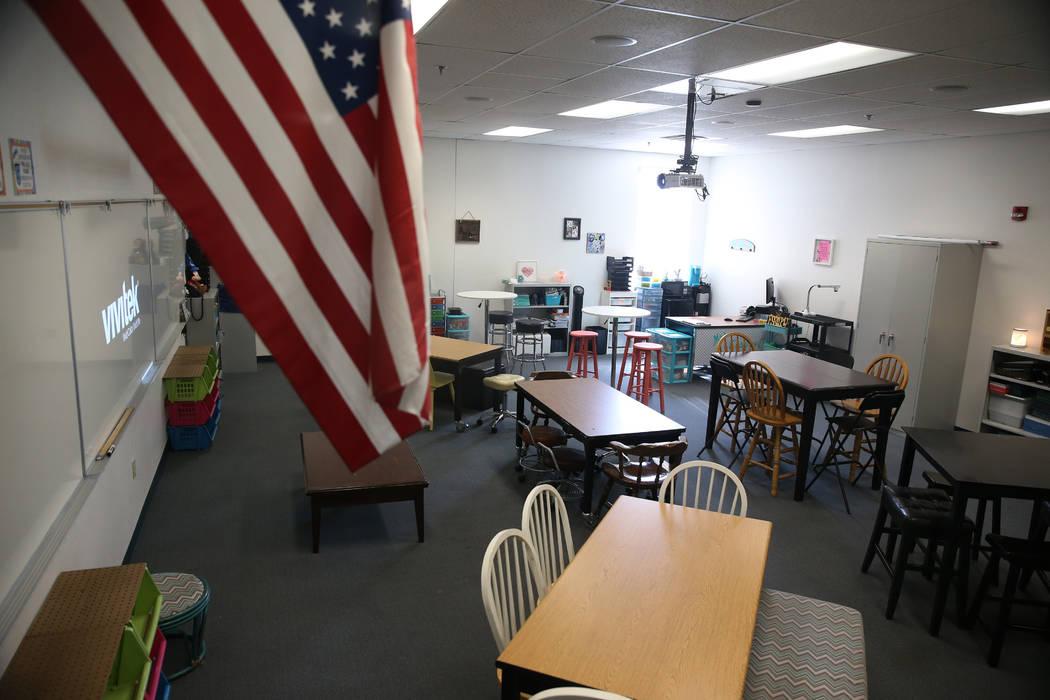 Un aula en la secundaria Mack en Las Vegas, miércoles 7 de agosto de 2019. (Erik Verduzco / La ...