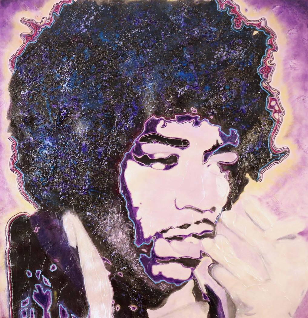 Un retrato de Jimi Hendrix pintado por el baterista de Def Leppard, Rick Allen, quien venderá ...