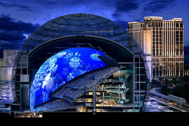 Una sección representada de MSG Sphere en The Venetian. El lugar de vanguardia tendrá nueve n ...