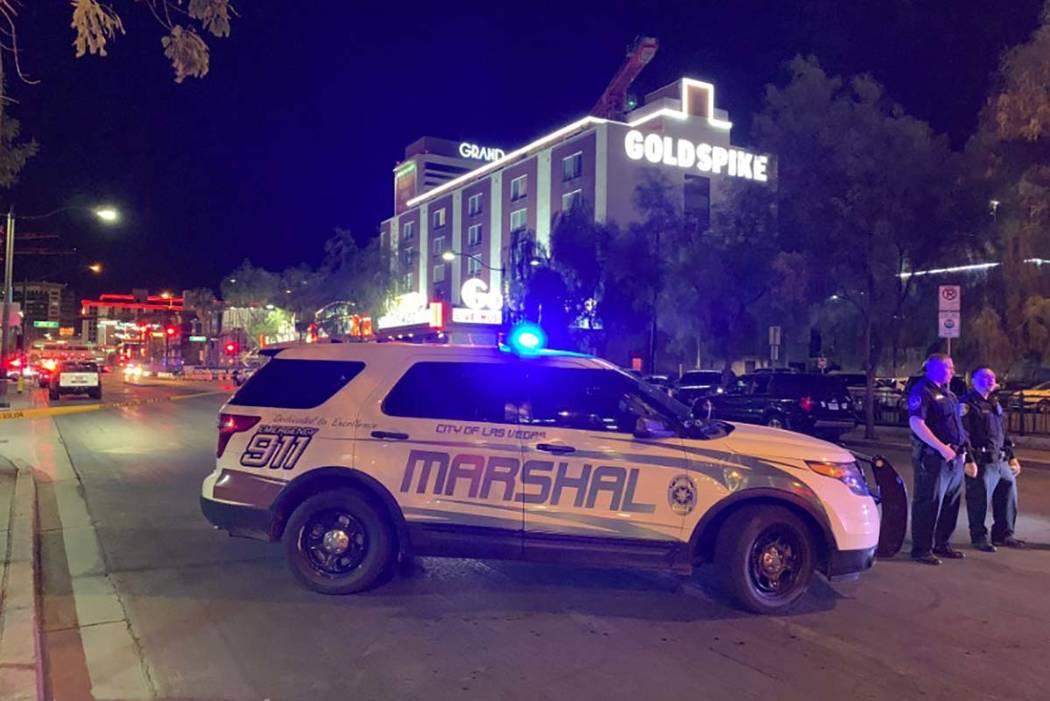 Una gran presencia policial es visible el jueves, 22 de agosto de 2019 en el centro de Las Vega ...