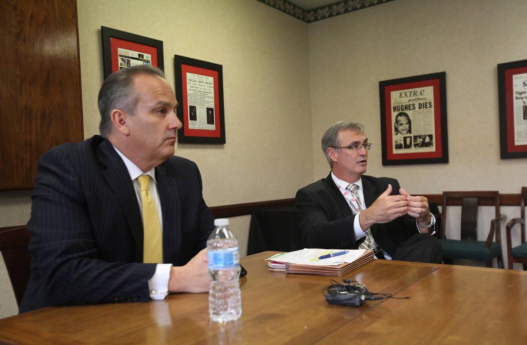 El superintendente Jesús Jara y el director financiero del CCSD, Jason A. Goudie, discuten la ...
