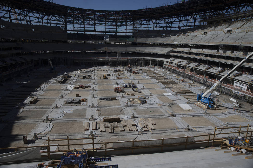 El sitio de construcción del estadio Raiders Allegiant en Las Vegas, miércoles 28 de agosto d ...