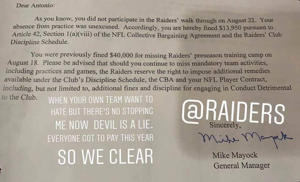 La publicación de la cuenta de Instagram de Antonio Brown muestra la carta del gerente general ...