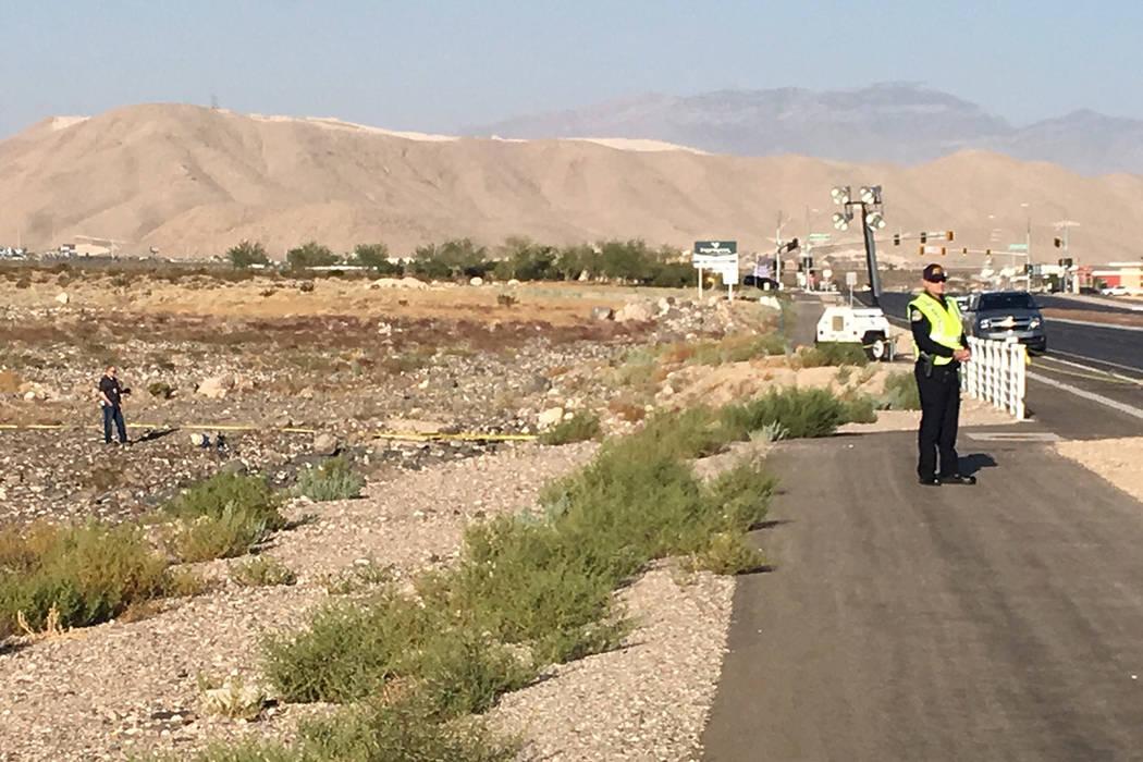 Investigadores en escena después de que un pequeño avión de hélice se estrelló cerca del a ...