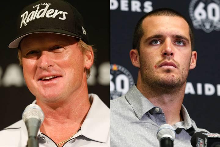 El entrenador de los Raiders, Jon Gruden, a la izquierda, y Derek Carr, a la derecha.(The Assoi ...