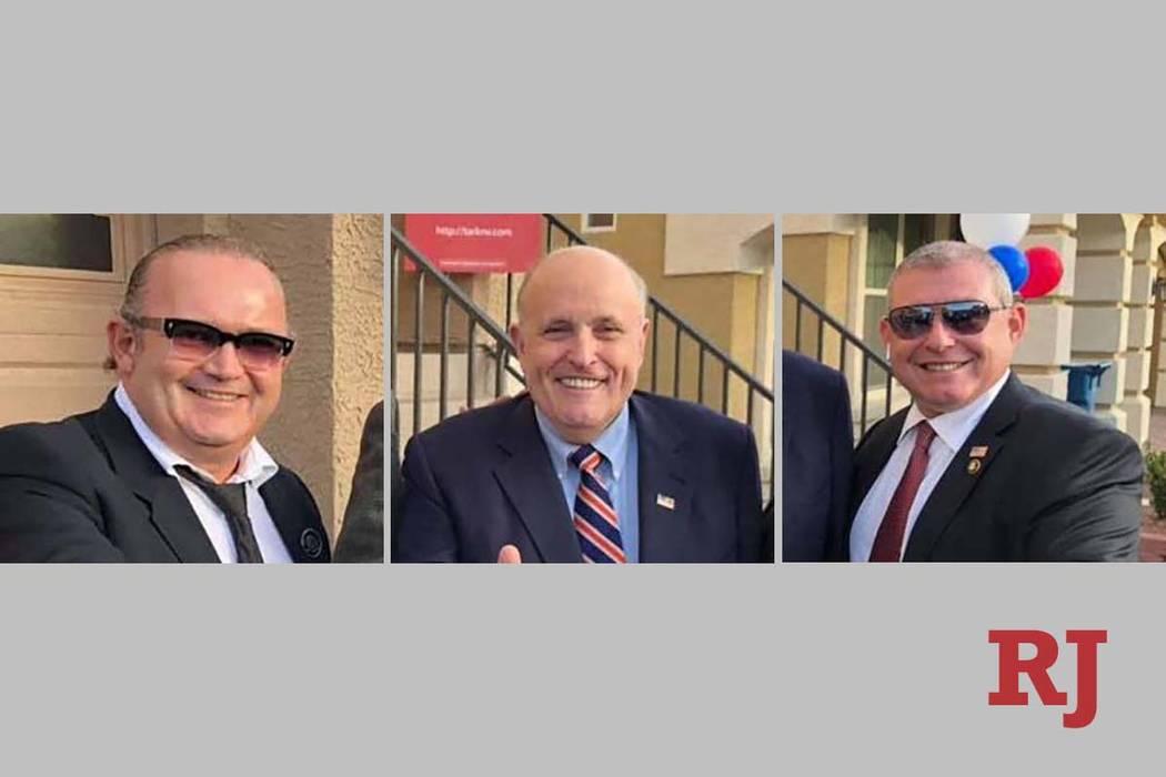 Igor Fruman, izquierda, y el ex alcalde de Nueva York Rudy Giuliani y Lev Parnas (Facebook)