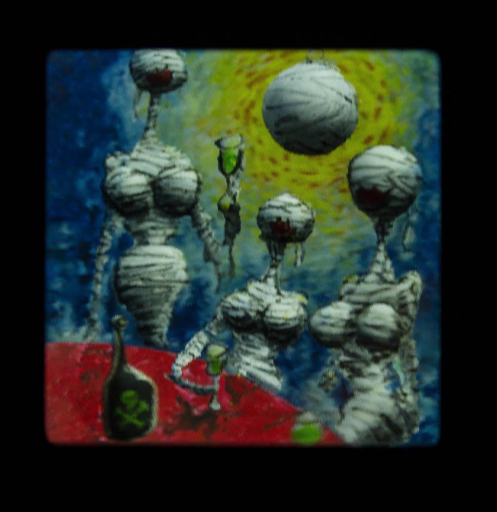 """Una pintura de Tim Burton en su exposición de arte """"Lost Vegas @Neon Museum"""" el lunes, 14 de o ..."""