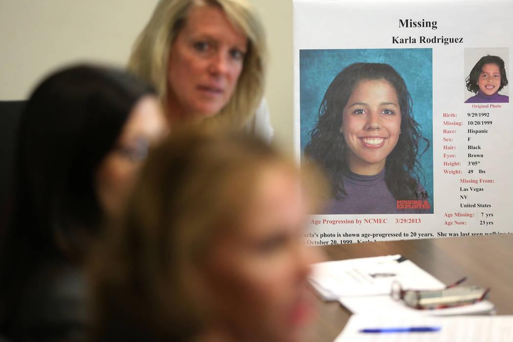 Una foto de Karla Rodríguez, quien desapareció hace 20 años cerca de su casa en Las Vegas a ...