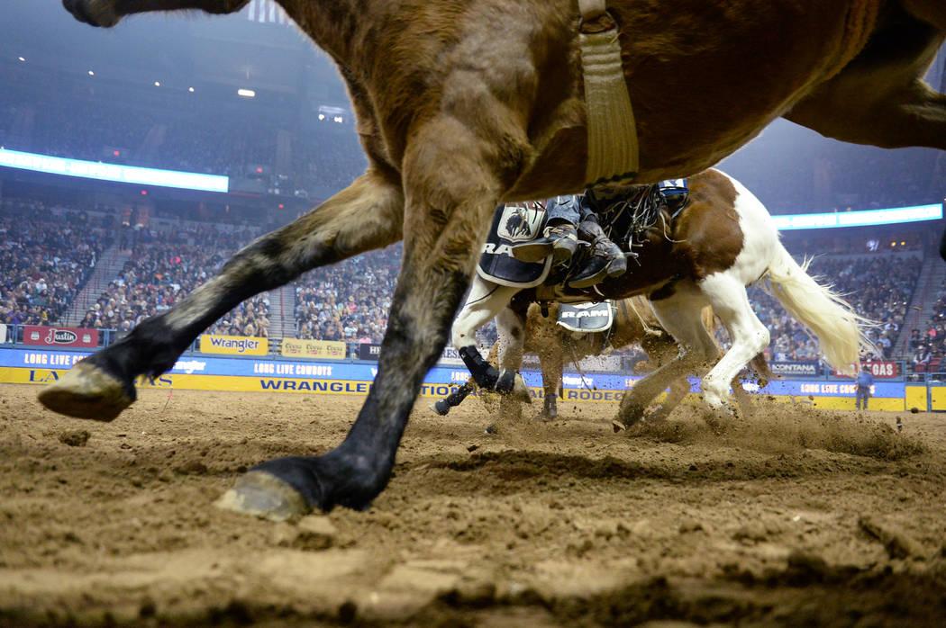 Una línea de caballos corre por la arena durante la sexta ronda de las NFR en el Thomas & Mack ...