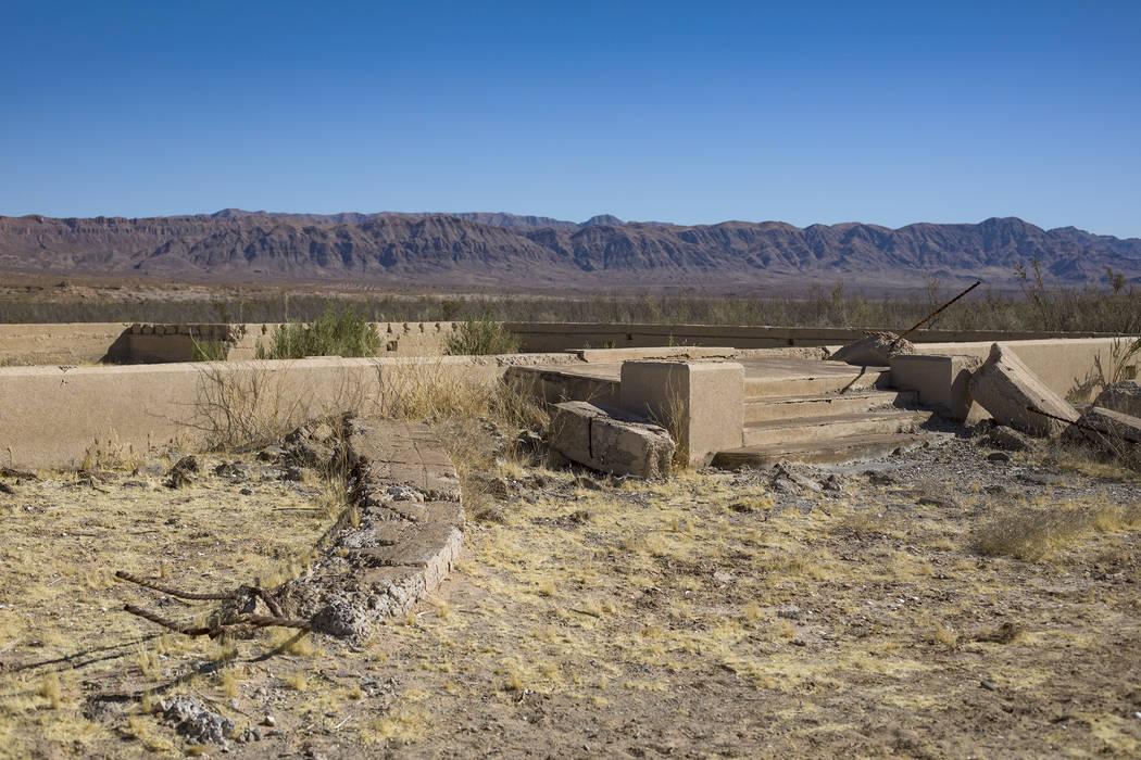 Restos de una escuela y casa en St. Thomas, en el Área de Recreación Nacional del Lago Mead e ...