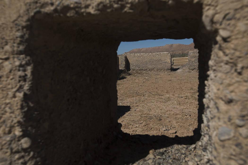 Restos de una estructura en St. Thomas, en el Área de Recreación Nacional del Lago Mead el ma ...