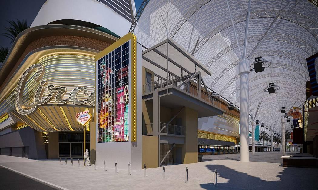 Una representación del cartel de LEDs de la calle Fremont. (Ciudad de Las Vegas)
