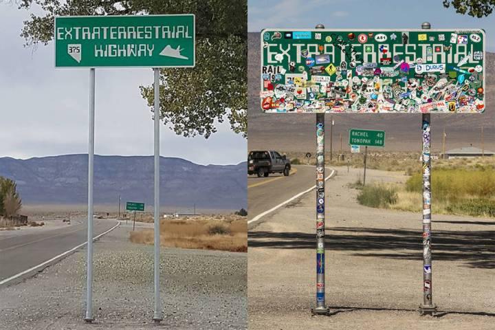"""Una nueva versión del letrero """"Extraterrestrial Highway"""" en el cruce de las rutas estatales 31 ..."""
