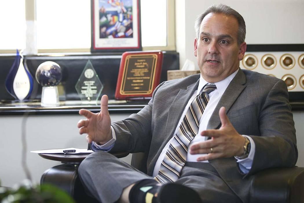 El superintendente del Distrito Escolar del Condado de Clark, Jesús Jara, habla en su oficina ...