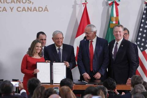 Ciudad de México, 10 Dic 2019 (Notimex-Marco Gonzáles).- Firma del acuerdo entre México, Est ...