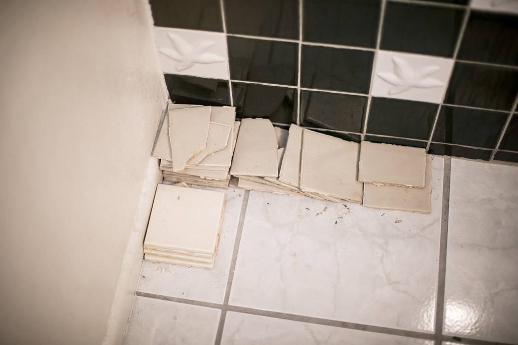 John y Mary Bodimer han reunido los azulejos que han caído del techo que gotea en el baño de ...