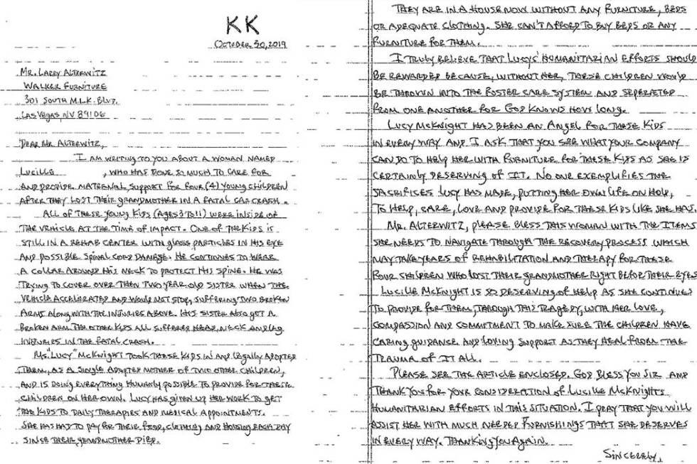 Inspirado por la abnegación de Lucille McKnight, su socio, Kyle Turpin, envió una carta de no ...