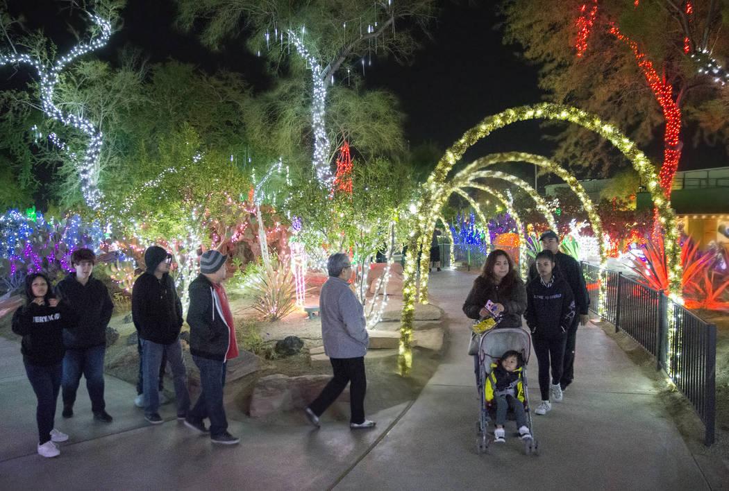 Visitantes disfrutan de las luces en el Jardín Botánico de Cactus Ethel M Chocolates el lunes ...