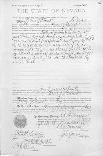 Patente histórica de tierras del Condado de Lincoln, con fecha de 1888, que muestra la prueba ...