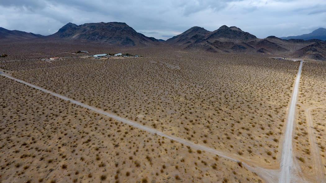 Una vista aérea de los terrenos del fideicomiso escolar de Nevada mirando hacia el noroeste de ...