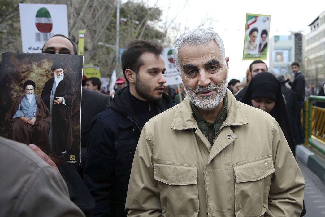 Qassem Soleimani, comandante de la Fuerza Quds de Irán, asiste a un mitin anual que conmemora ...