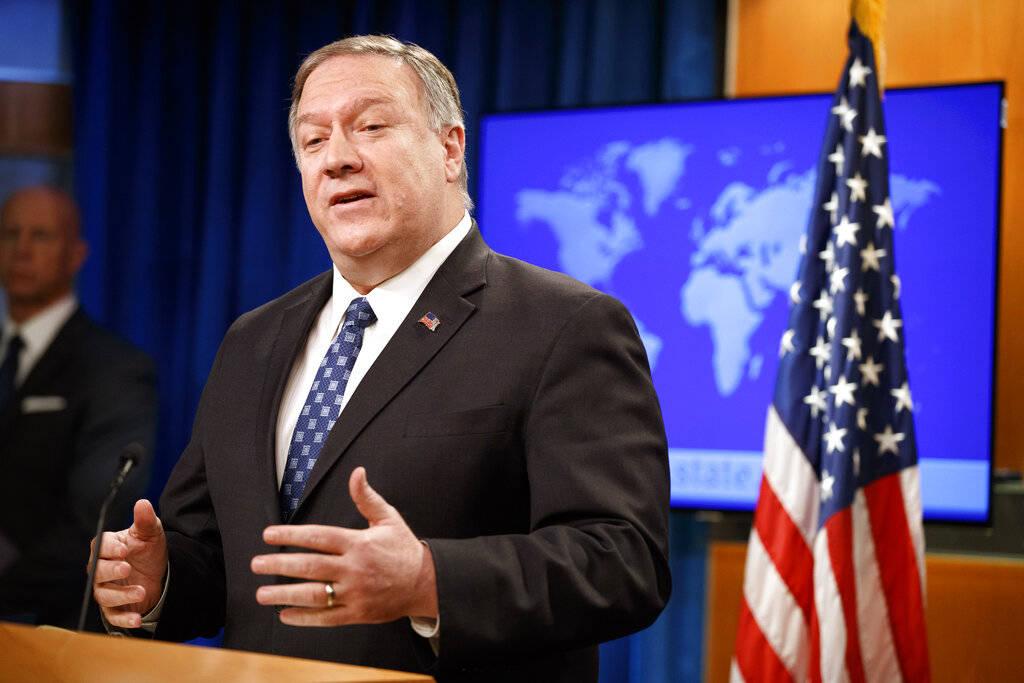 El Secretario de Estado, Mike Pompeo, habla sobre Irán el martes, 7 de enero de 2020 en el Dep ...