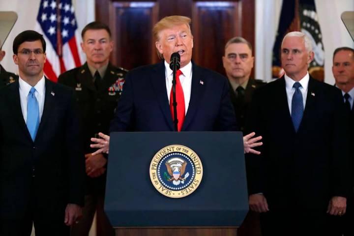 El presidente Donald Trump se dirige a la nación desde la Casa Blanca en relación con el ataq ...