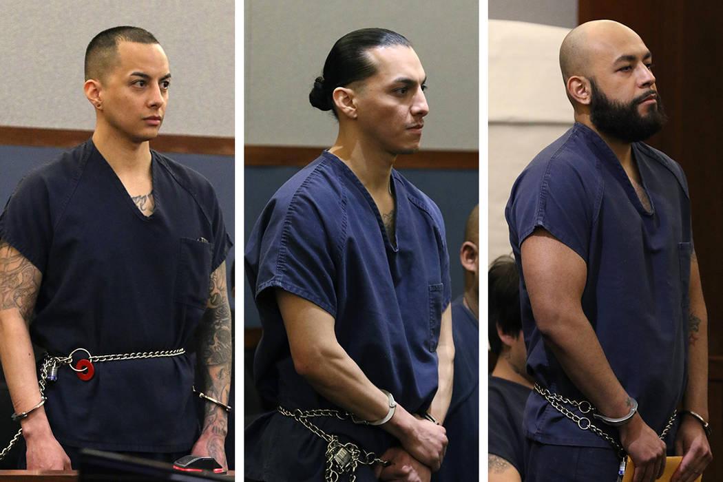 Hugo Carbajal Jr., de 32 años, izquierda, Francis Carbajal, de 31, centro, y Edgar Medina, de ...