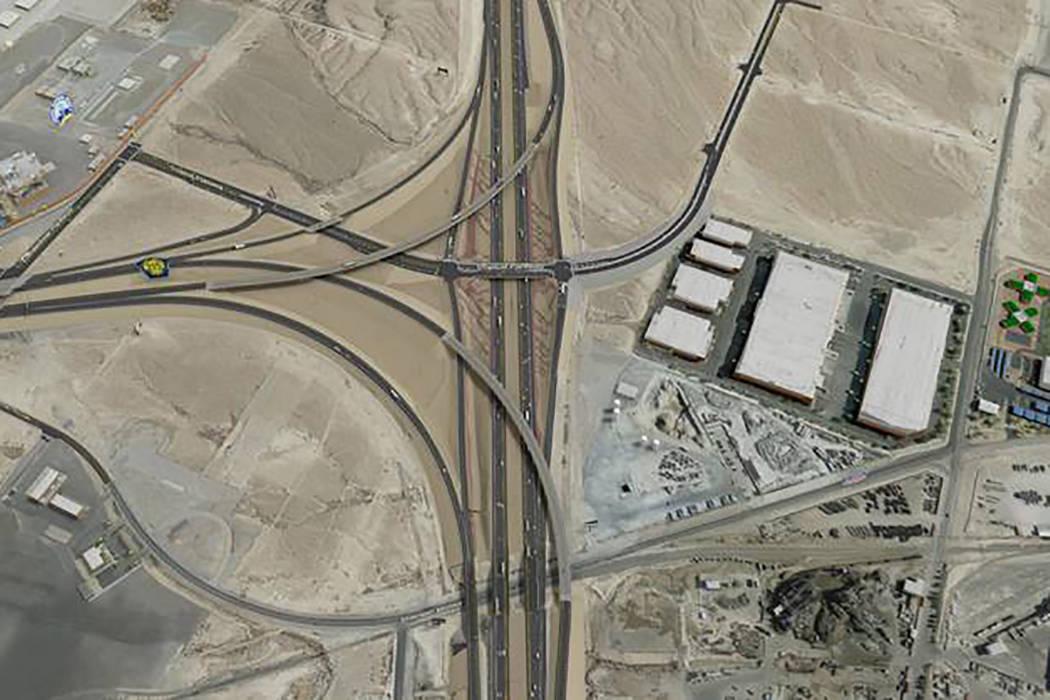 Una representación muestra el proyecto de la autopista Interestatal 15/215 Beltway en North La ...