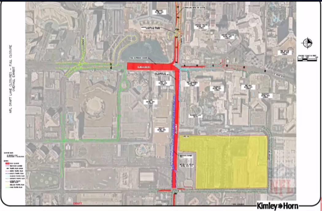 Cierres de calles previstos para el Draft de la NFL 2020 en Las Vegas. (NFL)