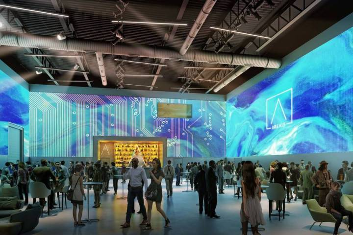 El espacio de eventos planeado con proyección de 360 grados del Area15. (Design + Distill)