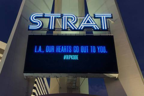 "The Strat posts a message that reads, ""OUR HEARTS GO OUT TO YOU,"" with a #RIPKOBE hashtag in La ..."