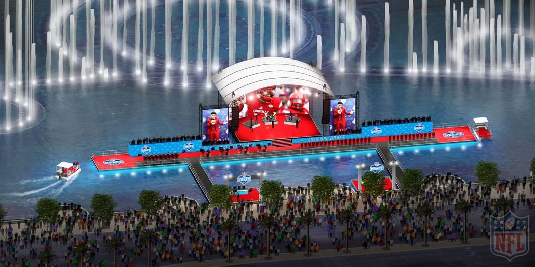 Una representación del escenario de la alfombra roja del Draft de la NFL en las Fuentes del Be ...