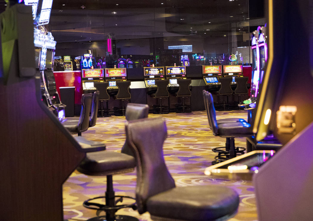 Empty slot machines at Hard Rock Hotel in Las Vegas, Monday, Feb. 3, 2020. The property closed ...