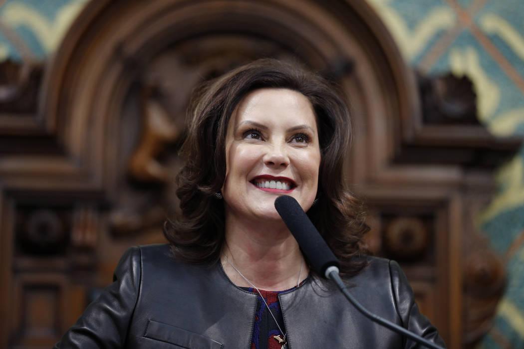La gobernadora de Michigan, Gretchen Whitmer, pronuncia su discurso sobre el estado del Estado ...