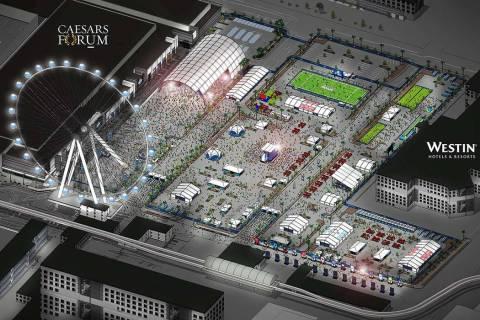 Una representación de la zona de experiencia de los fans situada entre el Caesars Forum y el W ...