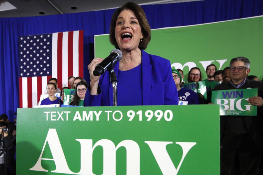 La candidata presidencial demócrata, la senadora Amy Klobuchar, demócrata por Minnesota, habl ...