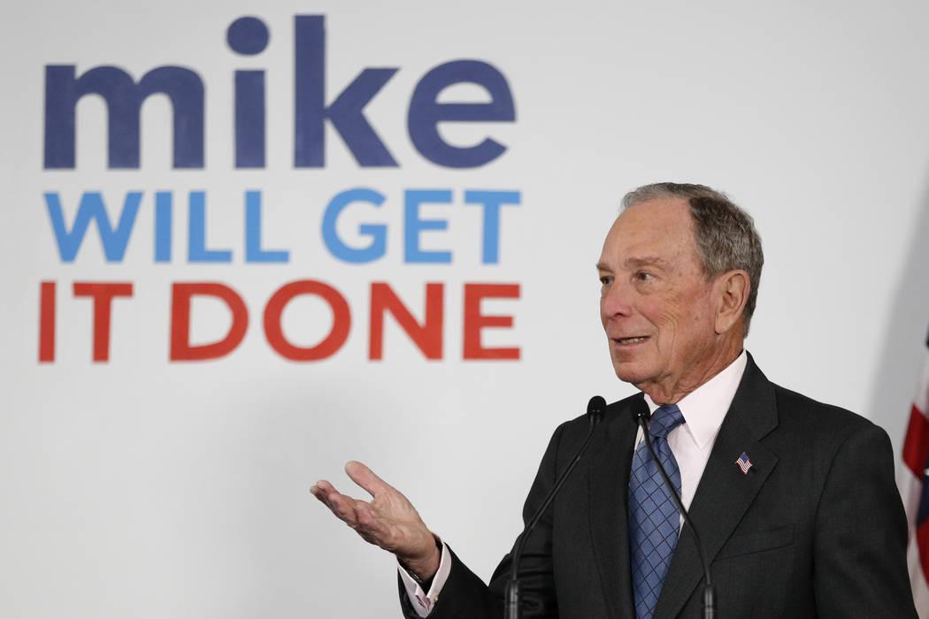 El candidato presidencial demócrata y ex alcalde de la ciudad de Nueva York, Michael Bloomberg ...