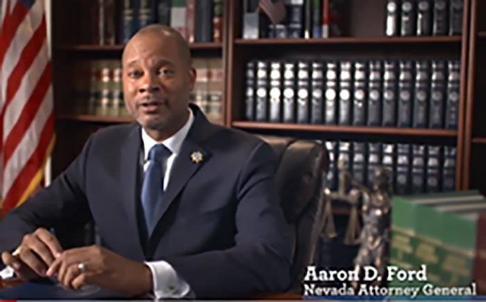 El Fiscal General de Nevada Aaron Ford, dice que la senadora estatal Pat Spearman, demócrata p ...