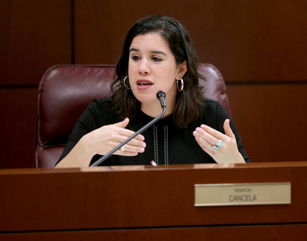 La senadora Yvanna Cancela, demócrata por Las Vegas, hace una pregunta durante una reunión de ...
