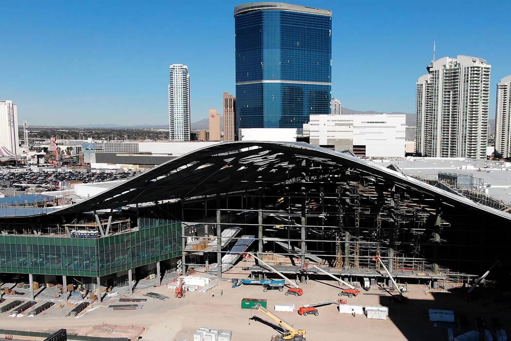 Una vista aérea de la expansión del Centro de Convenciones de Las Vegas en construcción el m ...