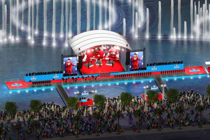 Una representación del escenario del Draft de la NFL 2020 en las Fuentes del Bellagio en Las V ...