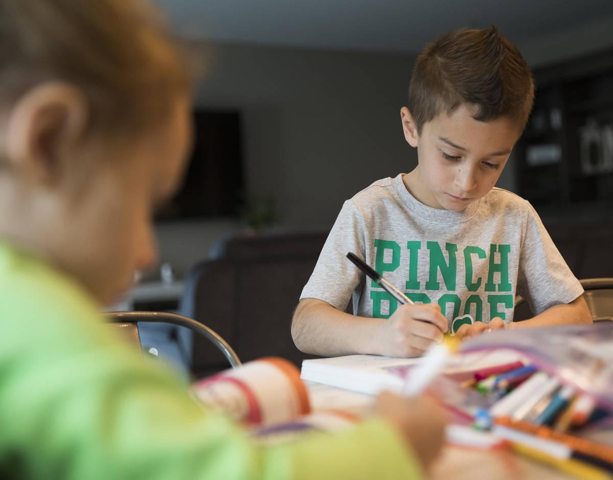 Alex Doleshal, de seis años, trabaja en un libro de trabajo con su hermana, Angie, de tres, en ...