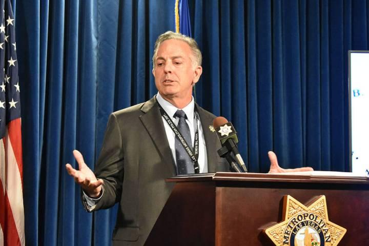 Esta foto de archivo muestra al alguacil de LVMPD, Joe Lombardo, durante una conferencia de pre ...