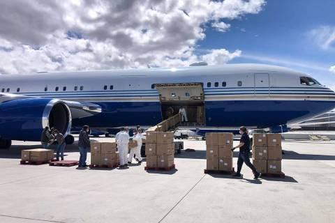 Un Boeing 767 propiedad del presidente de Las Vegas Sands, Sheldon Adelson, llega al Aeropuerto ...