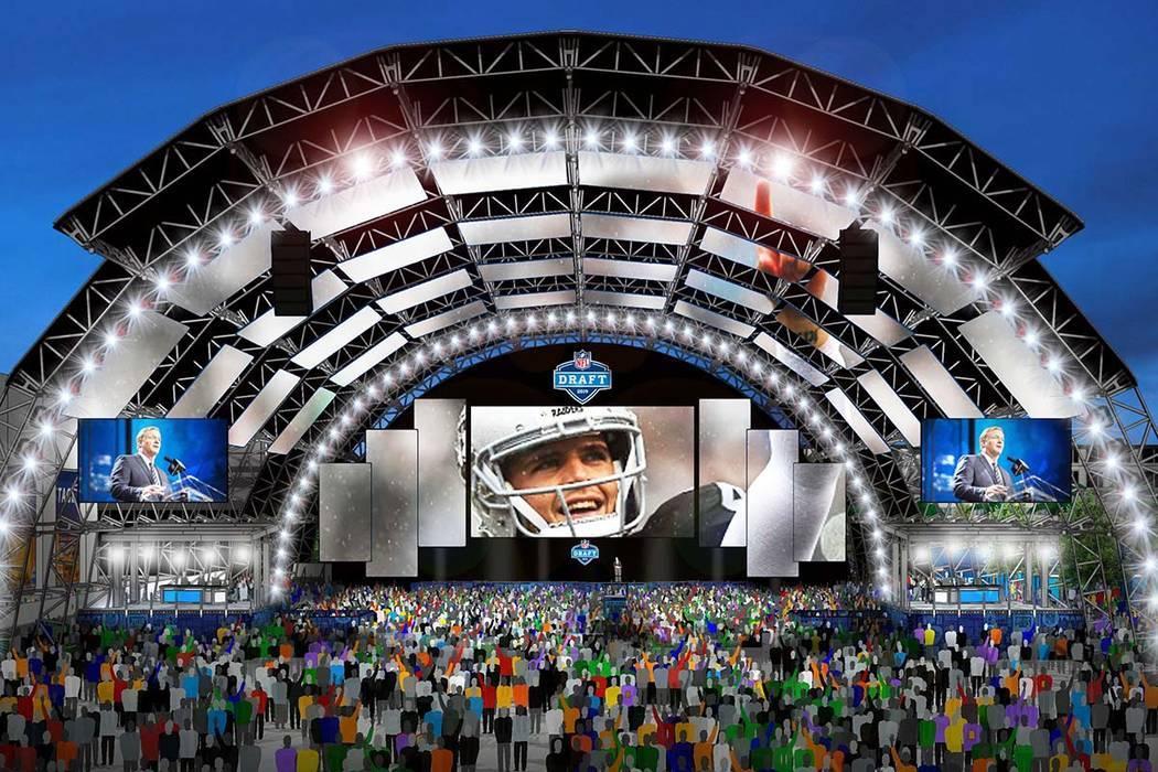 El escenario principal del Draft de la NFL está planeado para montarse en el Caesars Forum jun ...