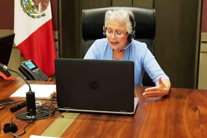ARCHIVO.- Olga Sánchez Cordero, secretaria de Gobernación, durante su conferencia de prensa v ...