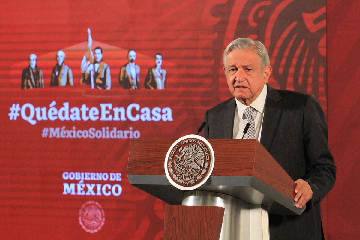 El presidente de México, Andrés Manuel López Obrador durante su conferencia matutina. Ciudad ...