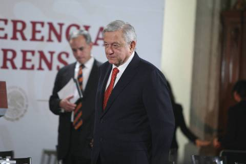 Ciudad de México, 12 May 2020 (Notimex-Gustavo Durán).- El presidente Andrés Manuel López O ...